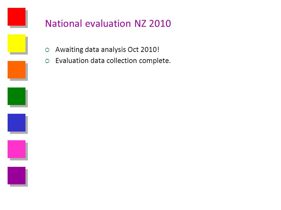 National evaluation NZ 2010 Awaiting data analysis Oct 2010! Evaluation data collection complete.