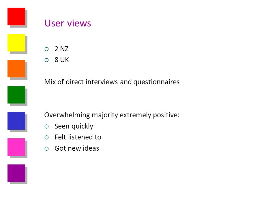 User views 2 NZ 8 UK Mix of direct interviews and questionnaires Overwhelming majority extremely positive: Seen quickly Felt listened to Got new ideas