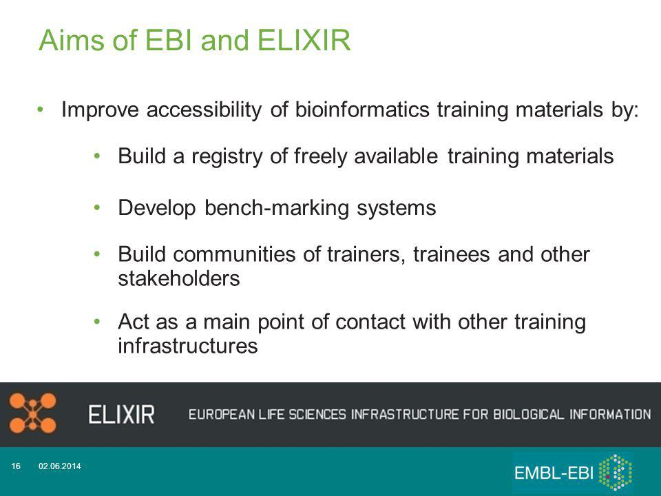 02.06.201416 Improve accessibility of bioinformatics training materials by: Build a registry of freely available training materials Develop bench-marking systems Act as a main point of contact with other training infrastructures Aims of EBI and ELIXIR Build communities of trainers, trainees and other stakeholders
