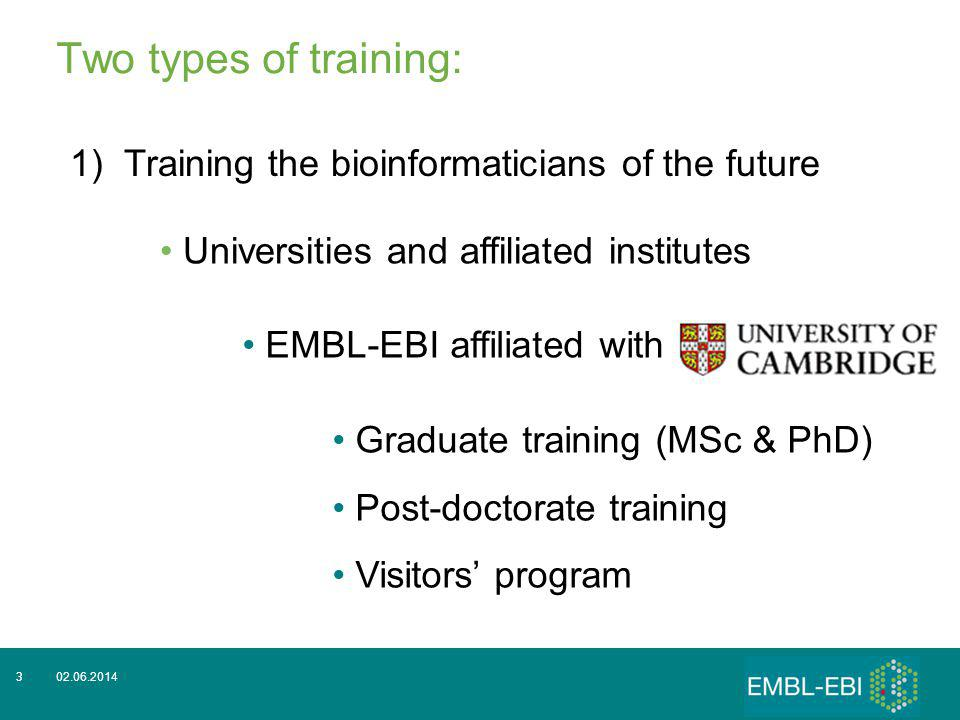 3 Two types of training: 1)Training the bioinformaticians of the future Universities and affiliated institutes EMBL-EBI affiliated with Graduate training (MSc & PhD) Post-doctorate training Visitors program