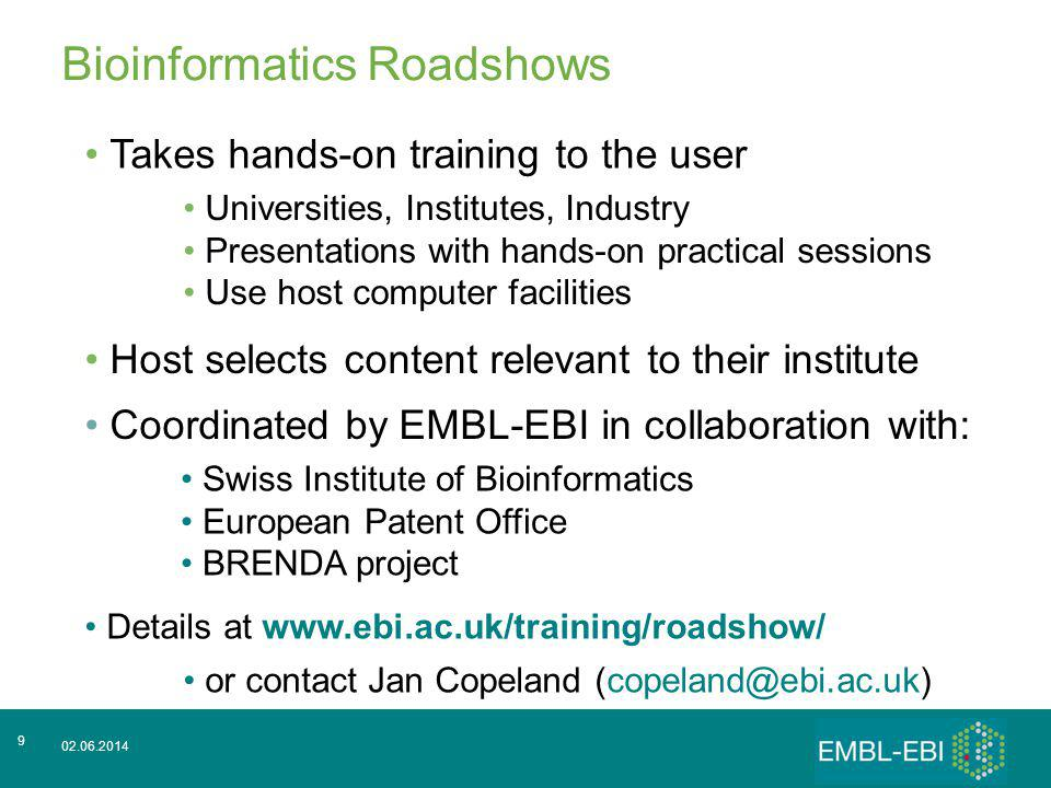 02.06.2014 9 Bioinformatics Roadshows Takes hands-on training to the user Host selects content relevant to their institute Universities, Institutes, I