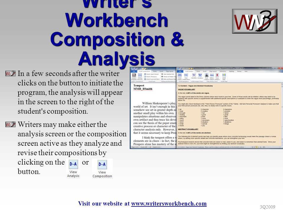 3Q2009 Writers Workbench Composition & Analysis In a few seconds after the writer clicks on the button to initiate the program, the analysis will appe