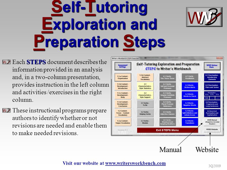 3Q2009 S elf- T utoring E xploration and P reparation S teps STEPS Each STEPS document describes the information provided in an analysis and, in a two