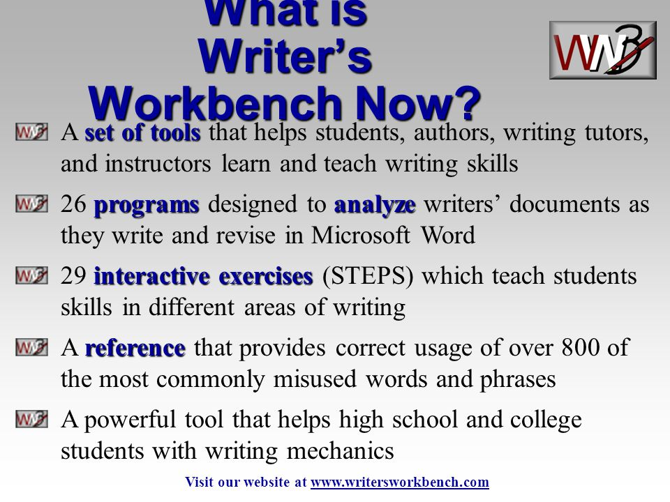 set of tools A set of tools that helps students, authors, writing tutors, and instructors learn and teach writing skills programsanalyze 26 programs d