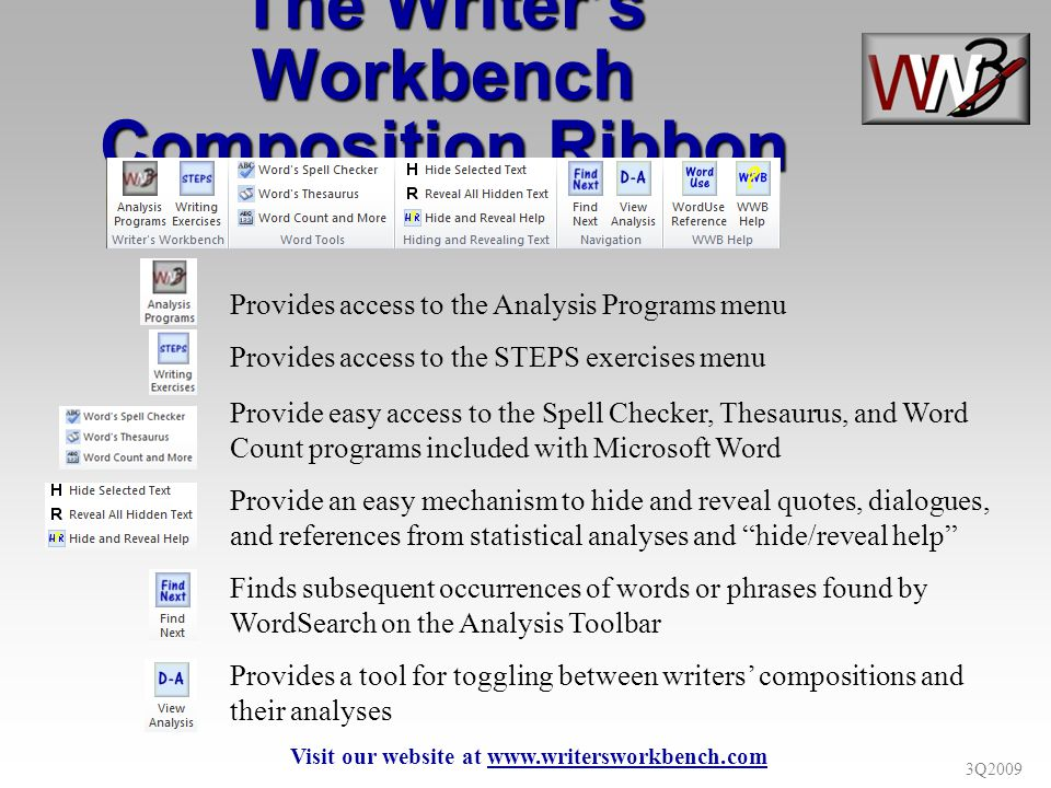 3Q2009 Provides access to the Analysis Programs menu Provide easy access to the Spell Checker, Thesaurus, and Word Count programs included with Microsoft Word Finds subsequent occurrences of words or phrases found by WordSearch on the Analysis Toolbar Provide an easy mechanism to hide and reveal quotes, dialogues, and references from statistical analyses and hide/reveal help The Writers Workbench Composition Ribbon Provides access to the STEPS exercises menu Provides a tool for toggling between writers compositions and their analyses Visit our website at www.writersworkbench.com