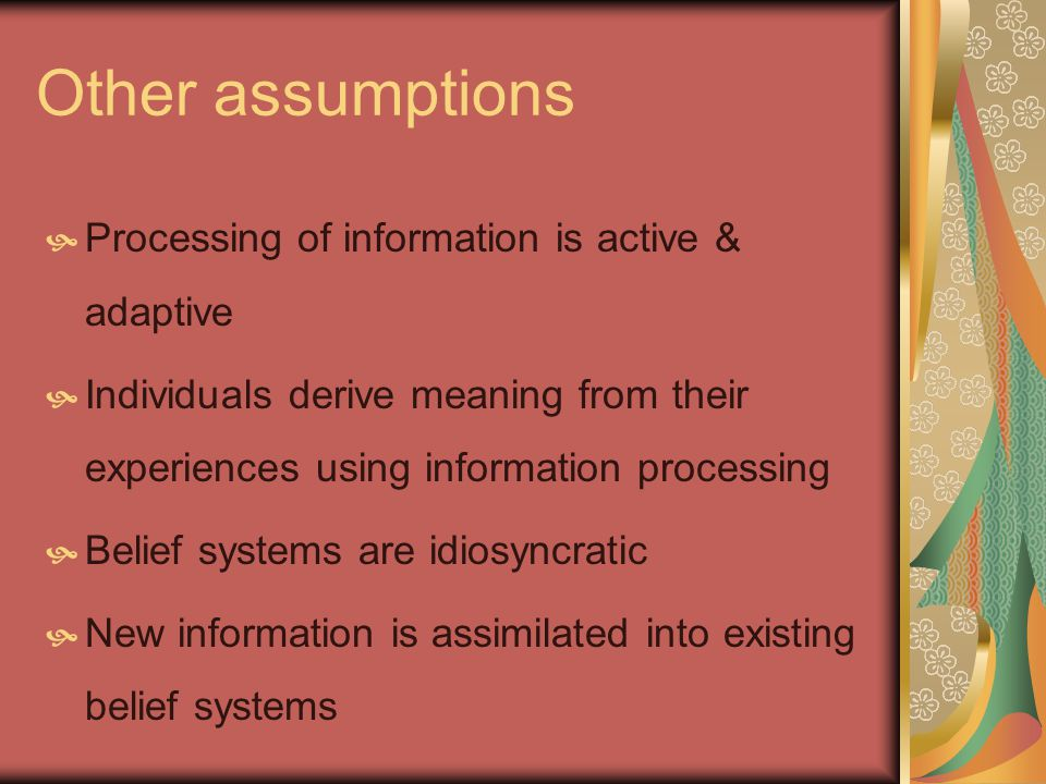 Other assumptions Processing of information is active & adaptive Individuals derive meaning from their experiences using information processing Belief systems are idiosyncratic New information is assimilated into existing belief systems