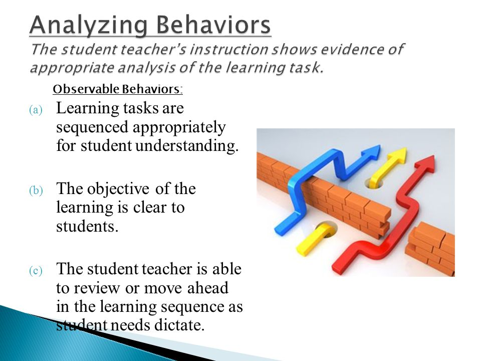 (a) Learning tasks are sequenced appropriately for student understanding. (b) The objective of the learning is clear to students. (c) The student teac