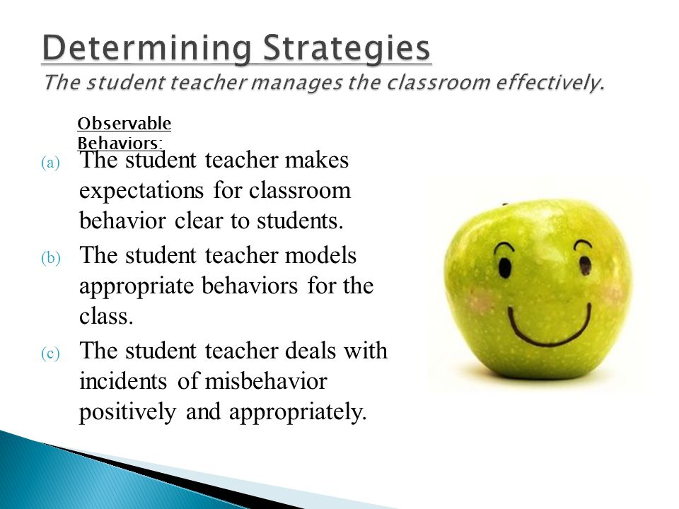 (a) The student teacher makes expectations for classroom behavior clear to students. (b) The student teacher models appropriate behaviors for the clas
