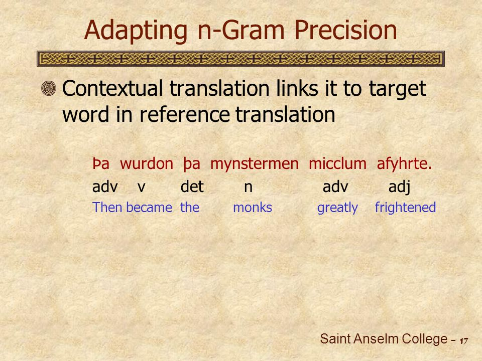 Saint Anselm College - 18 Adapting n-Gram Precision English synonyms available in free databases (WordNet) Þa wurdon þa mynstermen micclum afyhrte.
