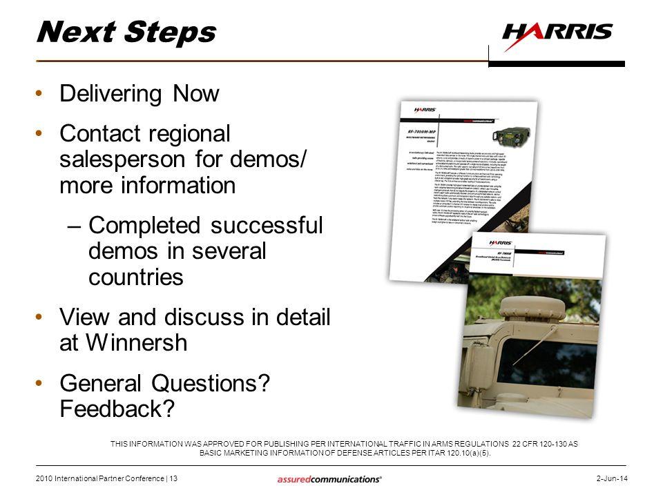 2010 International Partner Conference   13 2-Jun-14 Next Steps Delivering Now Contact regional salesperson for demos/ more information –Completed succ