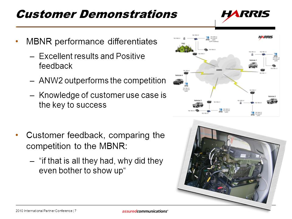 2010 International Partner Conference   7 Customer Demonstrations MBNR performance differentiates –Excellent results and Positive feedback –ANW2 outpe