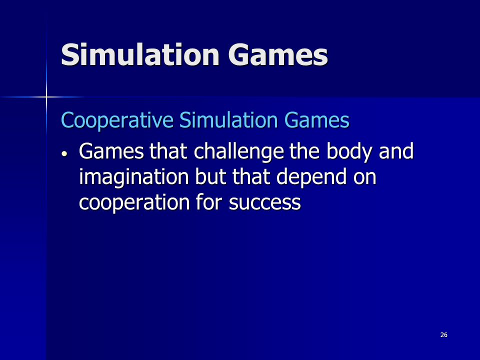 25 Simulation Games Integration Instructional simulation games are found in curriculum applications that require repetitive skill practice associated with games and the reality context associated with simulations Instructional simulation games are found in curriculum applications that require repetitive skill practice associated with games and the reality context associated with simulations They are used by teachers to provide an overview of a large dynamic process They are used by teachers to provide an overview of a large dynamic process