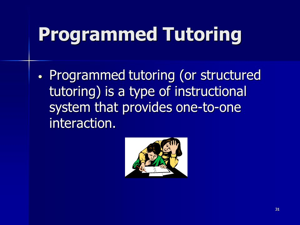 30 Programmed Instruction Integration Teachers can use a program to teach an entire course or a segment of a course Teachers can use a program to teach an entire course or a segment of a course Can be used as an enrichment activity Can be used as an enrichment activity