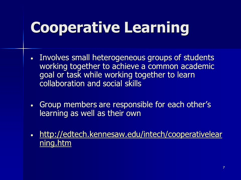 6 Categories Cooperative learning Cooperative learning Games Games Simulation Simulation Simulation games Simulation games Programmed instruction Programmed instruction Programmed tutoring Programmed tutoring Instructional Systems