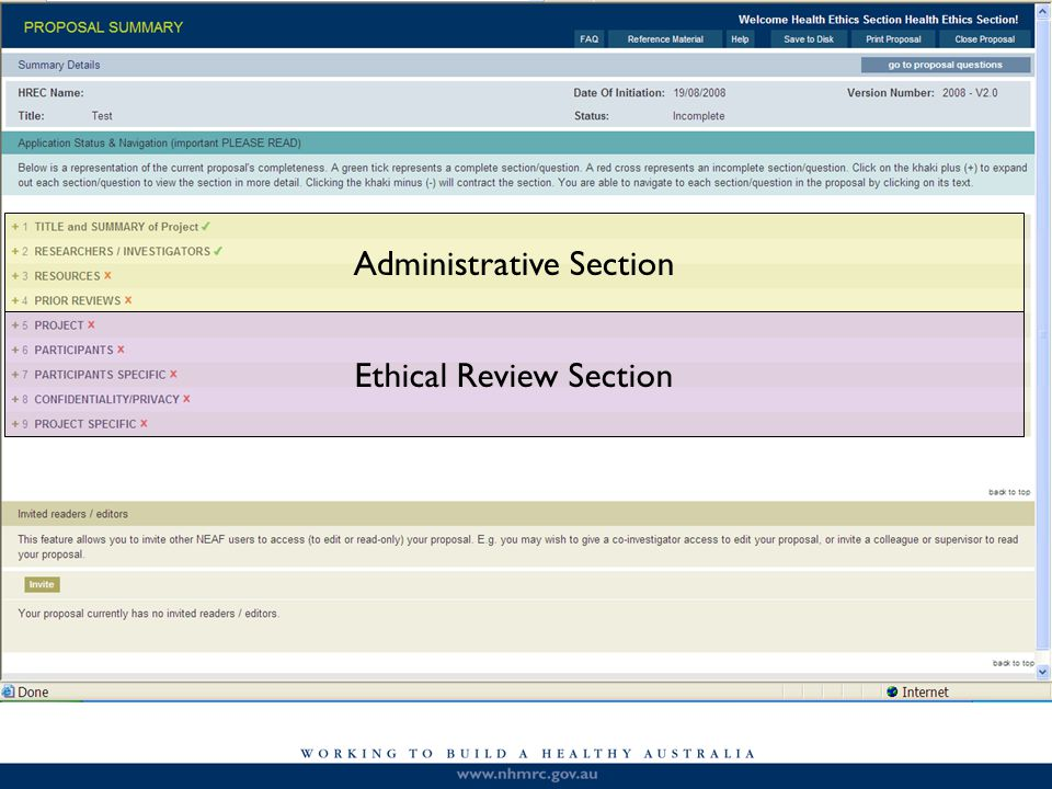Administrative Section Ethical Review Section