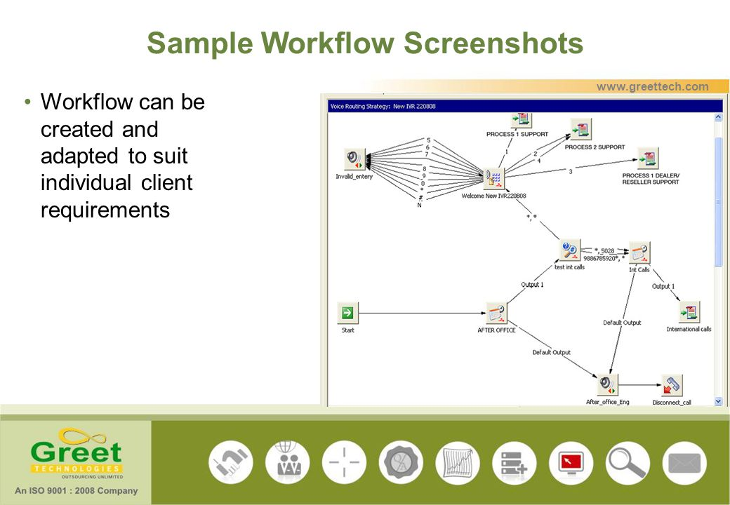 Sample Workflow Screenshots Workflow can be created and adapted to suit individual client requirements www.greettech.com