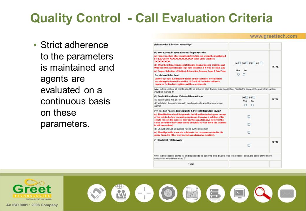 Quality Control - Call Evaluation Criteria Strict adherence to the parameters is maintained and agents are evaluated on a continuous basis on these pa