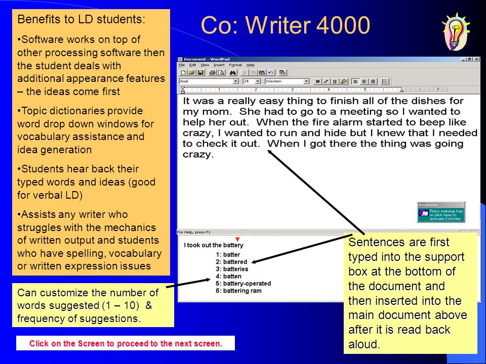 Co: Writer 4000 Sentences are first typed into the support box at the bottom of the document and then inserted into the main document above after it i