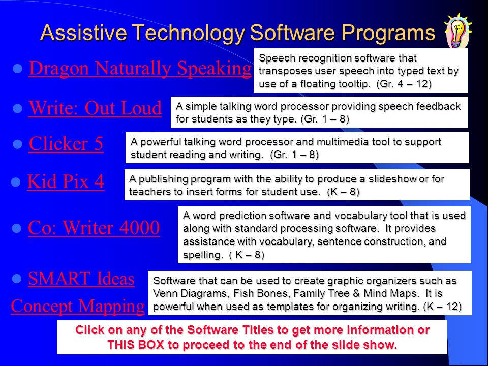Assistive Technology Software Programs A simple talking word processor providing speech feedback for students as they type. (Gr. 1 – 8) A word predict