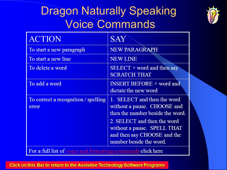 Dragon Naturally Speaking Voice Commands ACTIONSAY To start a new paragraphNEW PARAGRAPH To start a new lineNEW LINE To delete a wordSELECT + word and