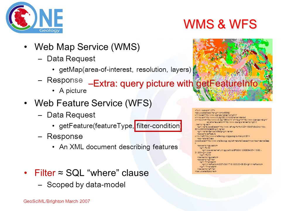 GeoSciML/Brighton March 2007 WMS & WFS Web Map Service (WMS) –Data Request getMap(area-of-interest, resolution, layers) –Response A picture Web Feature Service (WFS) –Data Request getFeature(featureType, filter-condition) –Response An XML document describing features Filter SQL where clause –Scoped by data-model 150497c8-d24c-11db- 8314-0800200c9a66 Sample 456dfg rock 115.82 - 31.933 2007-03-01T15:15:00.00+09:00 –Extra: query picture with getFeatureInfo