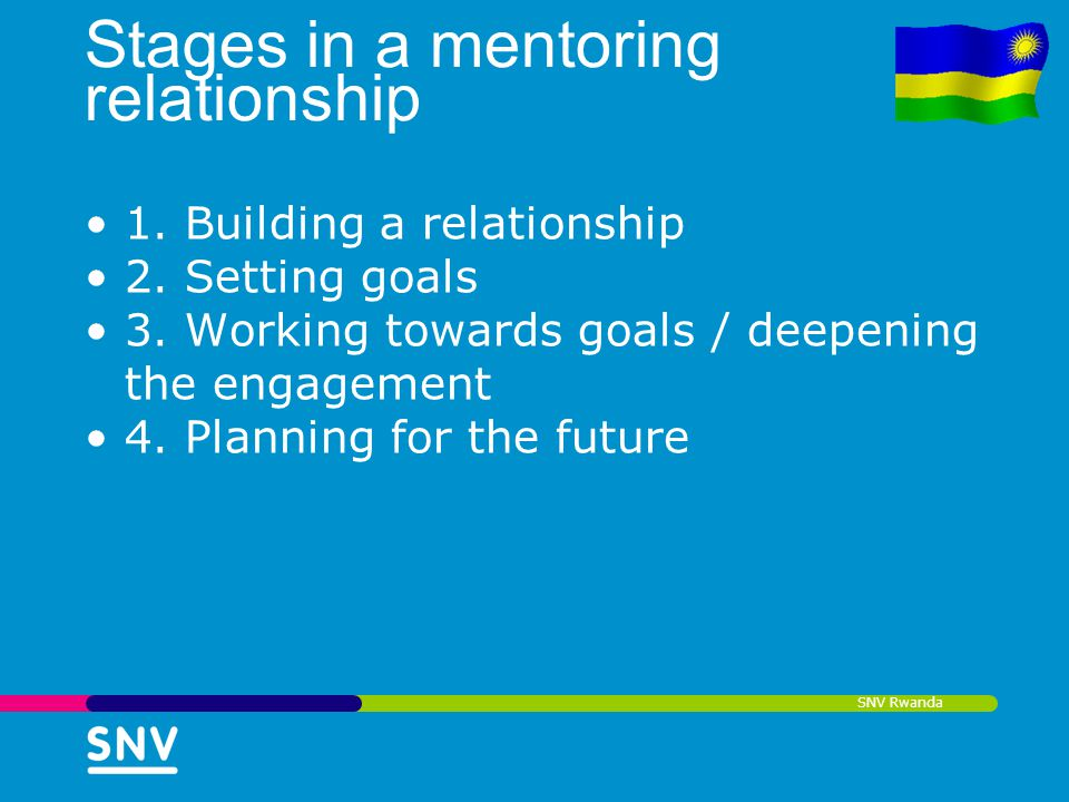 SNV Rwanda Stages in a mentoring relationship 1. Building a relationship 2. Setting goals 3. Working towards goals / deepening the engagement 4. Plann