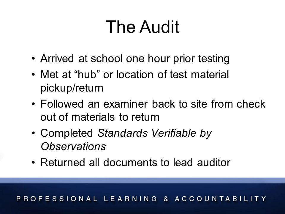 The Audit Arrived at school one hour prior testing Met at hub or location of test material pickup/return Followed an examiner back to site from check out of materials to return Completed Standards Verifiable by Observations Returned all documents to lead auditor