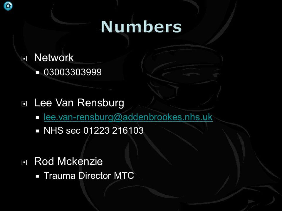 . Network 03003303999 Lee Van Rensburg lee.van-rensburg@addenbrookes.nhs.uk NHS sec 01223 216103 Rod Mckenzie Trauma Director MTC