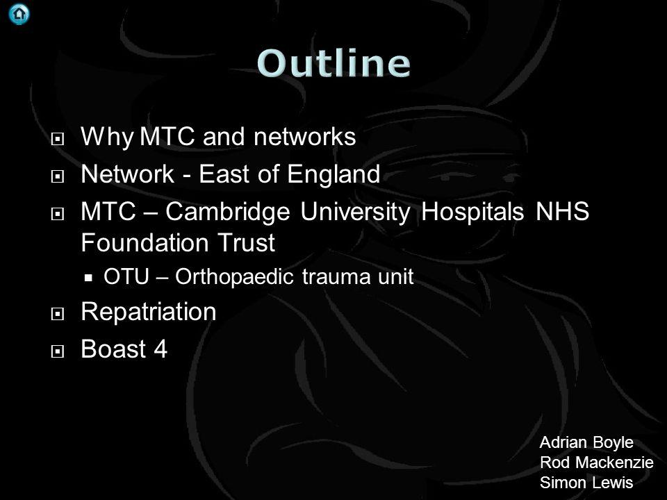 . Why MTC and networks Network - East of England MTC – Cambridge University Hospitals NHS Foundation Trust OTU – Orthopaedic trauma unit Repatriation Boast 4 Adrian Boyle Rod Mackenzie Simon Lewis