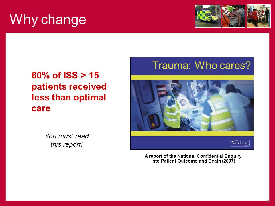 Major Trauma (ISS > 15) 12 (11-13) Major Trauma (ISS > 15) 12 (11-13) Severe Injury (ISS >8) 22 (20-23) Severe Injury (ISS >8) 22 (20-23) Serious Injury 34 (32-36) Serious Injury 34 (32-36) Survival to hospital 46 (42-48) Survival to hospital 46 (42-48) Serious injury 55 (53-57) Serious injury 55 (53-57) Admitted with significant injury (meeting UK TARN entry criteria) 1 Admitted with significant injury (meeting UK TARN entry criteria) 1 Survive to hospital Pre-hospital System 999 Call 2623 3 999 Call 2623 3 Age-standardised population rate per 100,000 (95% CI) 2 Burden of Disease (Count of patients, 95% CI) (1)See www.tarn.ac.uk (2)Directly age-standardised rate per 100,000 resident population with 95% confidence interval (3)Based on estimate from Ambulance Service related to 999 call burden for trauma related AMPDS codes (150000/year) Burden of disease