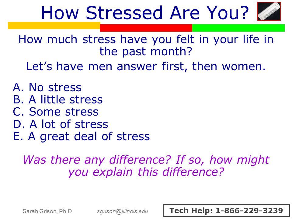 Sarah Grison, Ph.D. sgrison@illinois.edu Tech Help: 1-866-229-3239 How Stressed Are You.