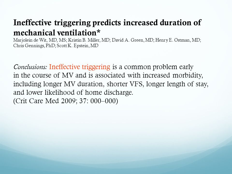 Ineffective triggering predicts increased duration of mechanical ventilation* Marjolein de Wit, MD, MS; Kristin B. Miller, MD; David A. Green, MD; Hen