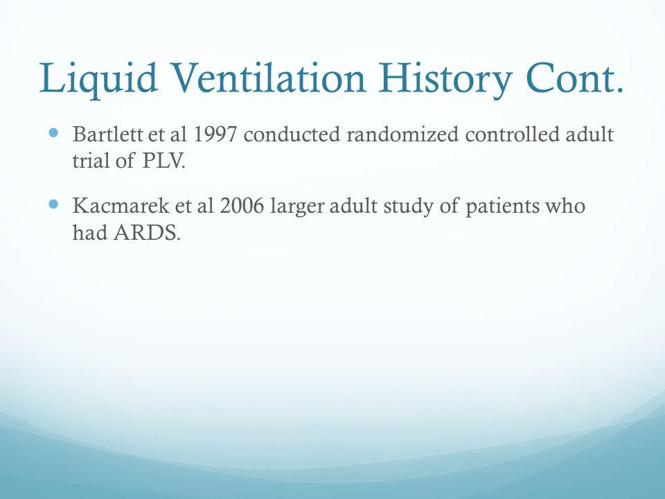 Liquid Ventilation History Cont. Bartlett et al 1997 conducted randomized controlled adult trial of PLV. Kacmarek et al 2006 larger adult study of pat