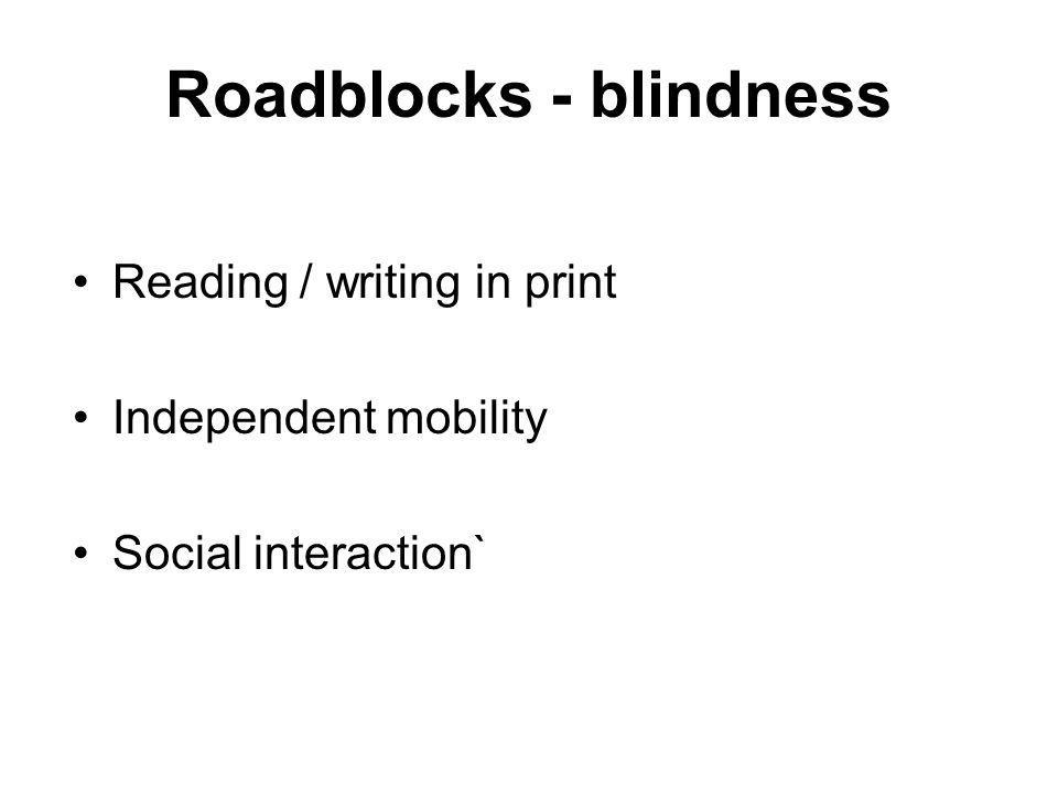 Roadblocks - blindness Reading / writing in print Independent mobility Social interaction`
