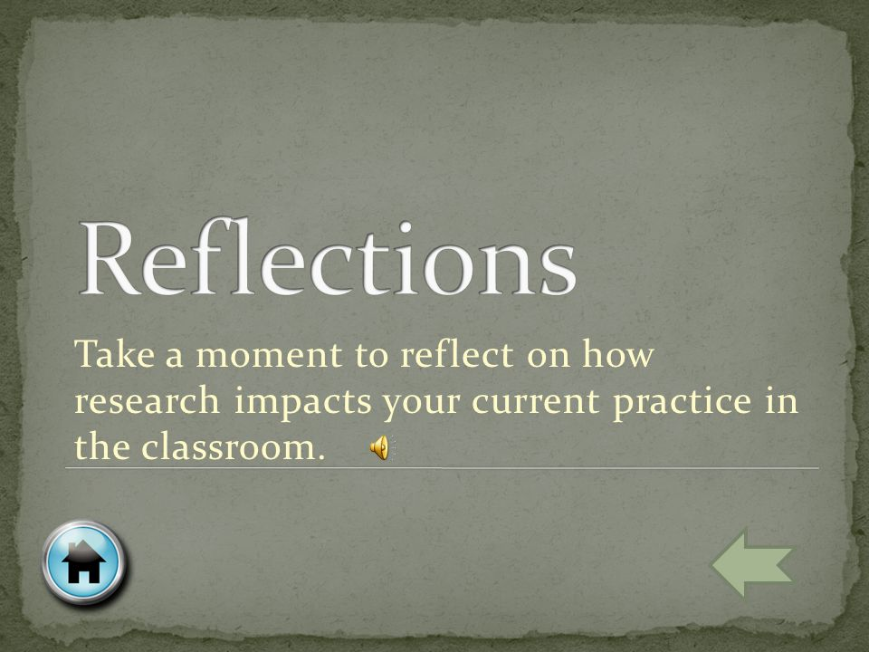 Take a moment to reflect on how research impacts your current practice in the classroom.