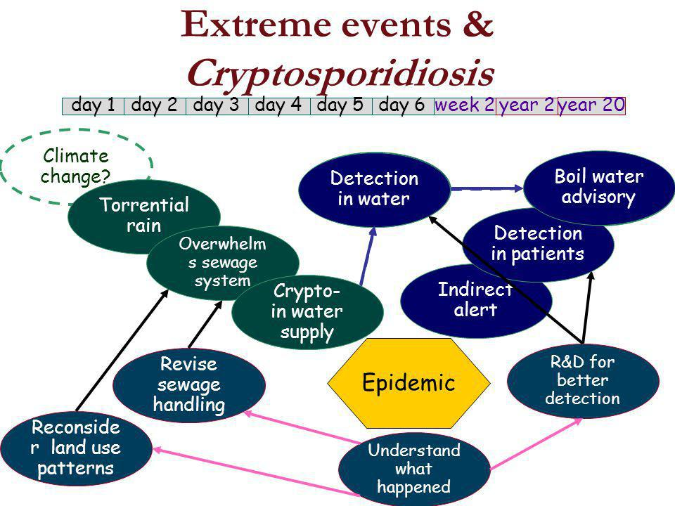 Detection in water Boil water advisory Extreme events & Cryptosporidiosis Climate change.