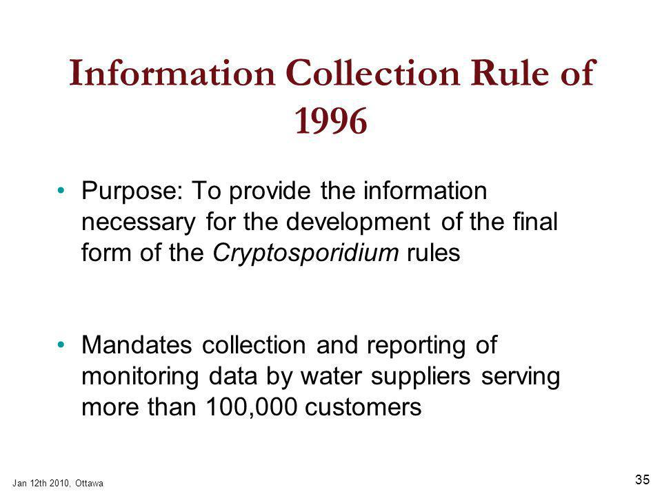 Jan 12th 2010, Ottawa 35 Information Collection Rule of 1996 Purpose: To provide the information necessary for the development of the final form of the Cryptosporidium rules Mandates collection and reporting of monitoring data by water suppliers serving more than 100,000 customers