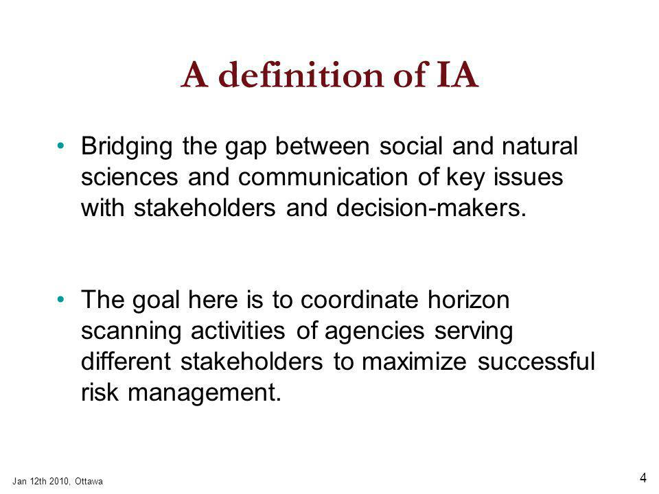 Jan 12th 2010, Ottawa 4 A definition of IA Bridging the gap between social and natural sciences and communication of key issues with stakeholders and decision-makers.