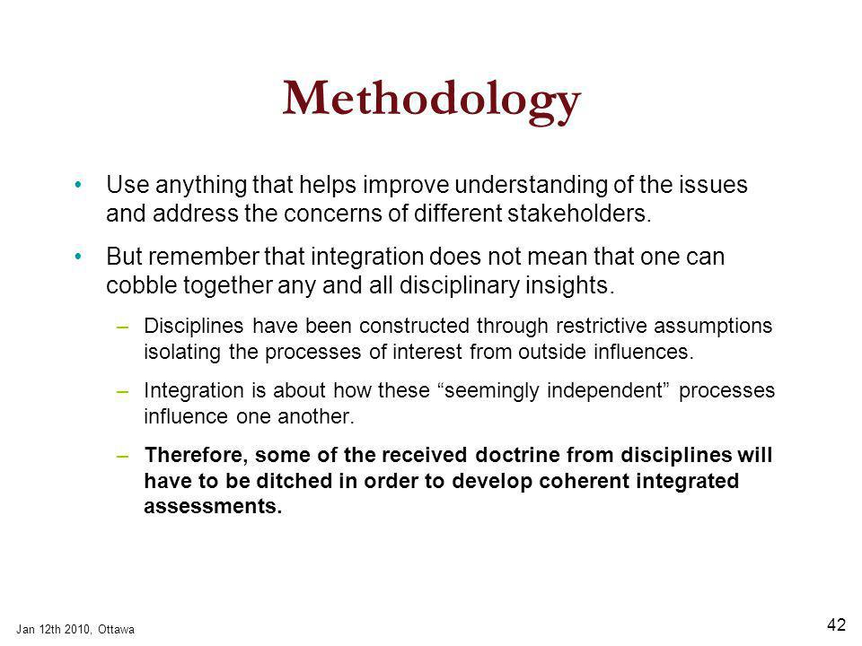 Jan 12th 2010, Ottawa 42 Methodology Use anything that helps improve understanding of the issues and address the concerns of different stakeholders.
