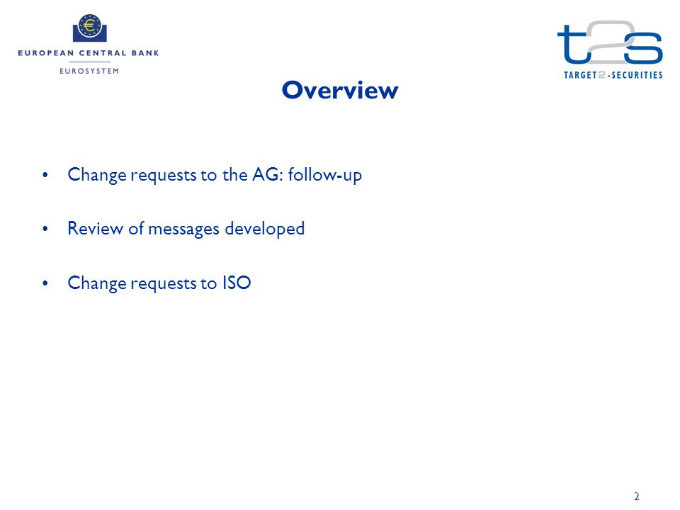 2 Overview Change requests to the AG: follow-up Review of messages developed Change requests to ISO