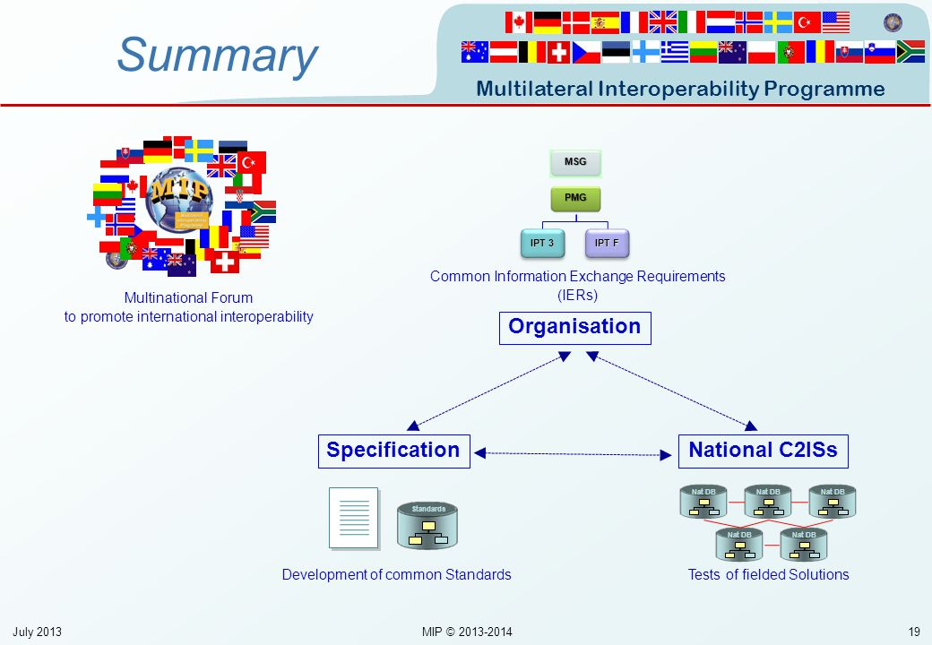 Multilateral Interoperability Programme 19 Summary Multinational Forum to promote international interoperability PMG IPT 3 IPT F Standards MSG Common
