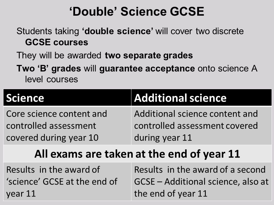Double Science GCSE Students taking double science will cover two discrete GCSE courses They will be awarded two separate grades Two B grades will gua