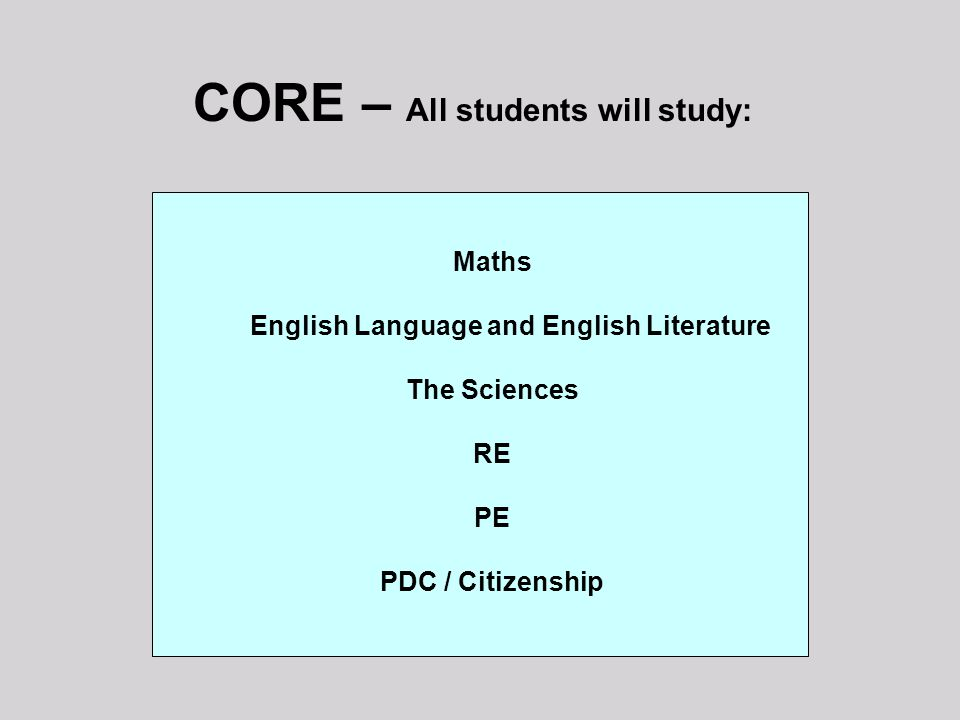 CORE – All students will study: Maths English Language and English Literature The Sciences RE PE PDC / Citizenship