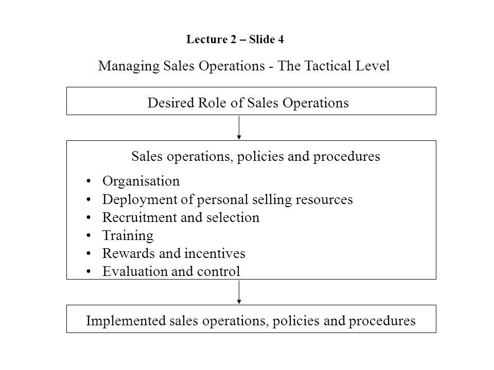 Managing Sales Operations - The Tactical Level Desired Role of Sales Operations Sales operations, policies and procedures Organisation Deployment of p