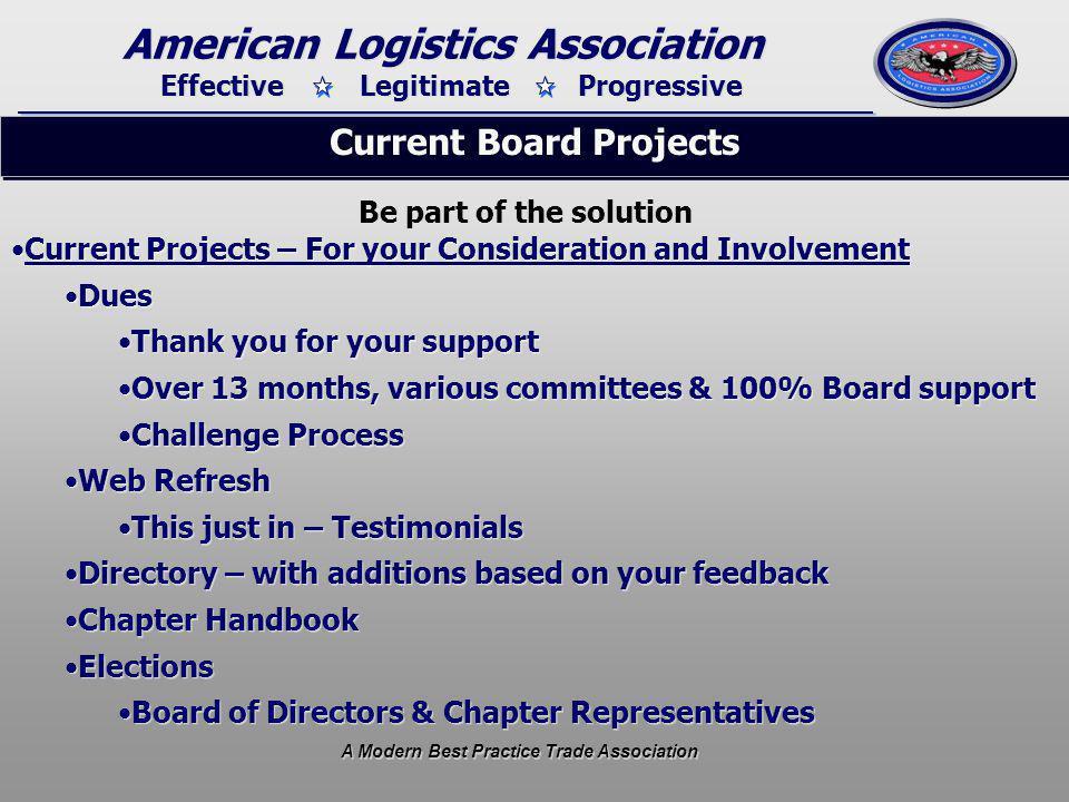 Effective Legitimate Progressive American Logistics Association A Modern Best Practice Trade Association Member involvement – Action Steps.