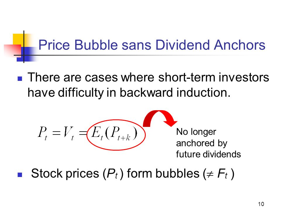 10 Price Bubble sans Dividend Anchors There are cases where short-term investors have difficulty in backward induction. Stock prices (P t ) form bubbl