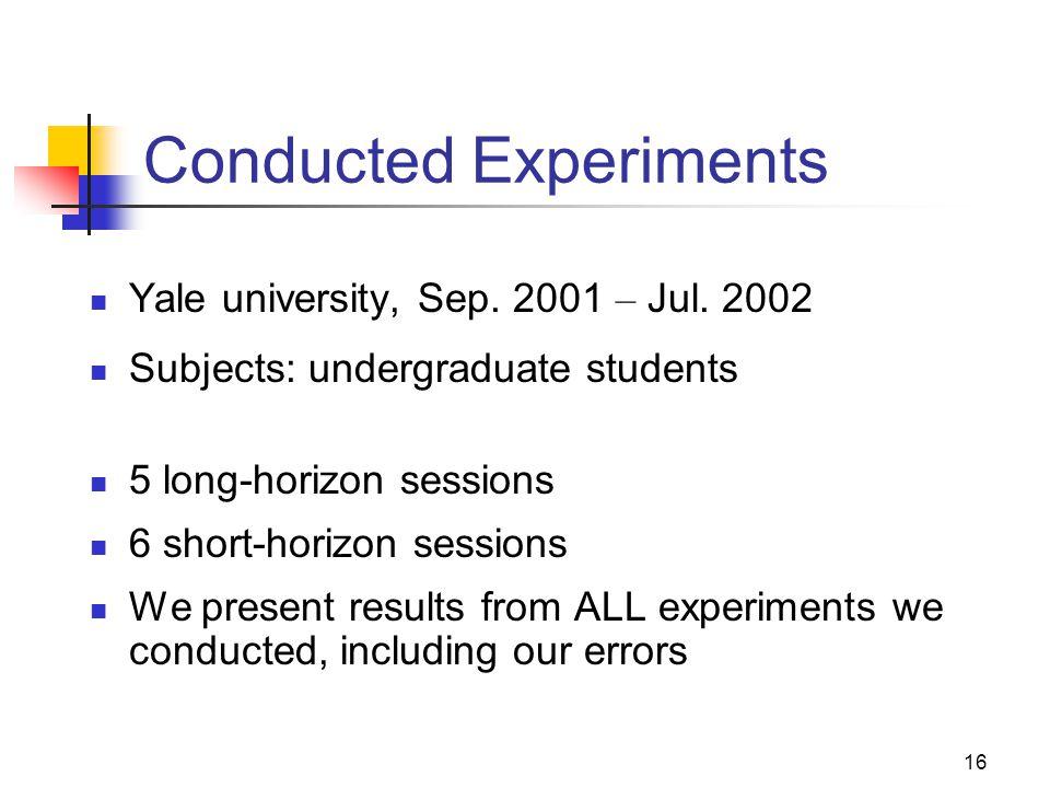 16 Conducted Experiments Yale university, Sep. 2001 – Jul. 2002 Subjects: undergraduate students 5 long-horizon sessions 6 short-horizon sessions We p