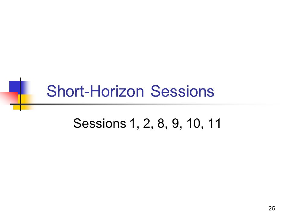 25 Short-Horizon Sessions Sessions 1, 2, 8, 9, 10, 11
