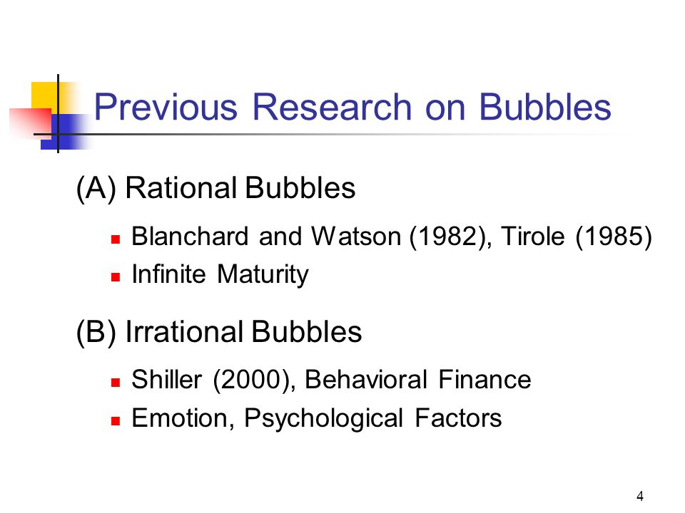 4 Previous Research on Bubbles (A) Rational Bubbles Blanchard and Watson (1982), Tirole (1985) Infinite Maturity (B) Irrational Bubbles Shiller (2000), Behavioral Finance Emotion, Psychological Factors
