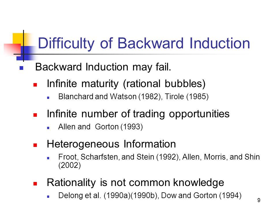 9 Difficulty of Backward Induction Backward Induction may fail.